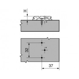 Prowadnik Blum krzyżakowy z mimośrodem 173H7130 H-3