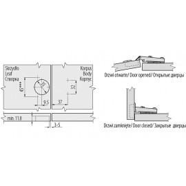 Zawias GTV ZP-BICN090BE nakładany