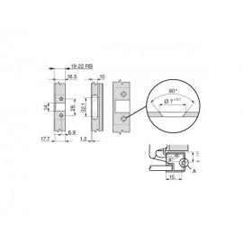 Zawias Blum clip 71T970A do ramek aluminiowych, drzwi wpuszczane