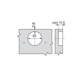 Zawias Blum clip top bez sprężyny 107' 74T1750 drzwi wewnętrzne
