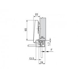 Zawias Blum clip top bez sprężyny 107' 70T950A do ramek aluminiowych, drzwi nakładane