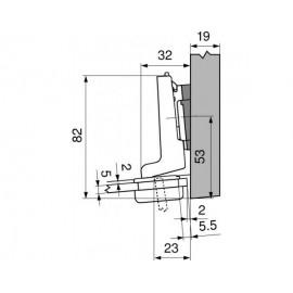Zawias Blum clip 75T4300 do drzwi szklanych, wpuszczanych