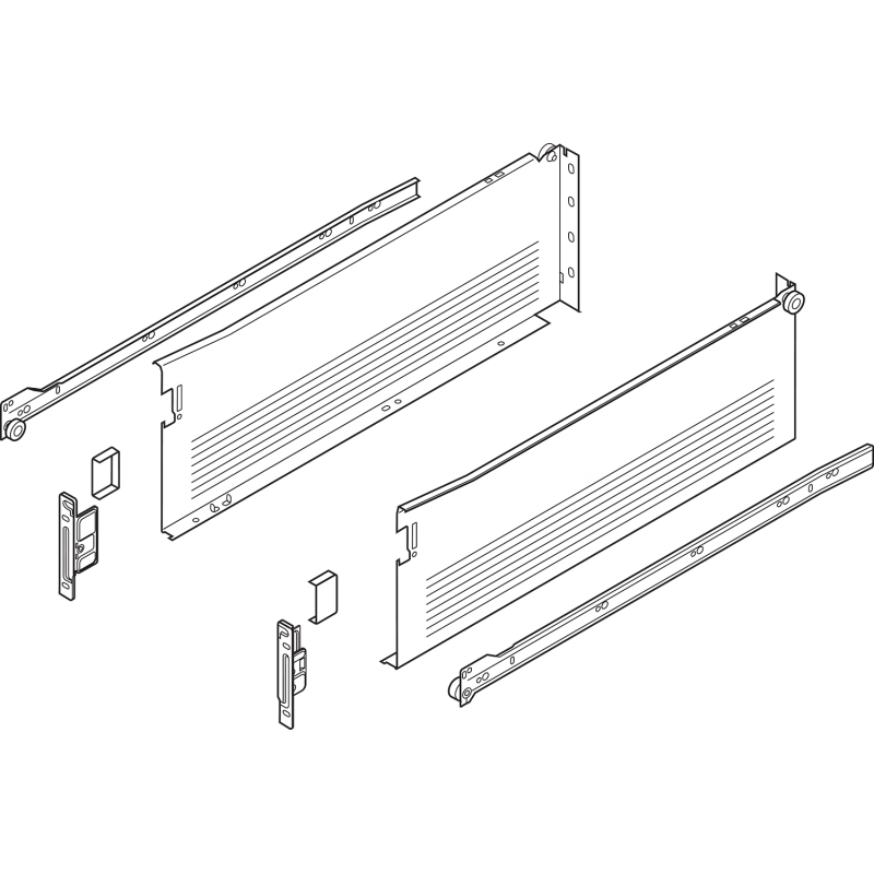 Metabox BLUM 320H4500C15 MX, częściowy wysuw, wysokość H- 150 mm, szary