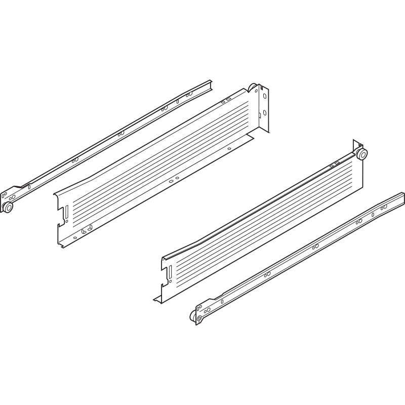 Metabox BLUM 320M4000C15 MX, częściowy wysuw, wysokość H- 86 mm, szary