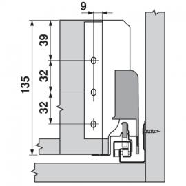 Uchwyt ścianki tylnej tandembox lewy/prawy Z30B000S szary