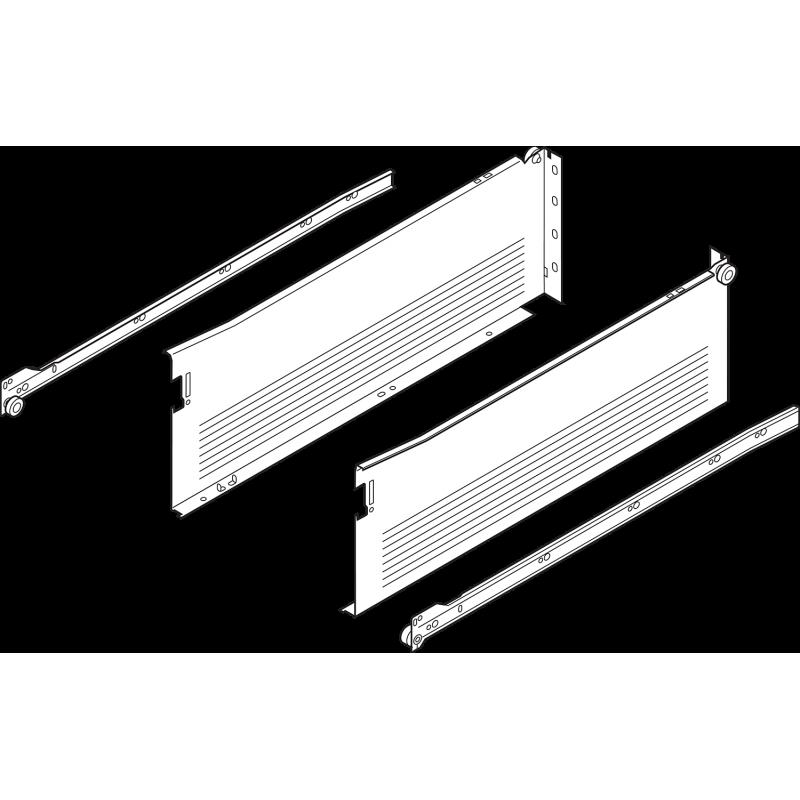 Metabox BLUM 320H4000C15 MX, częściowy wysuw, wysokość H- 150 mm, szary