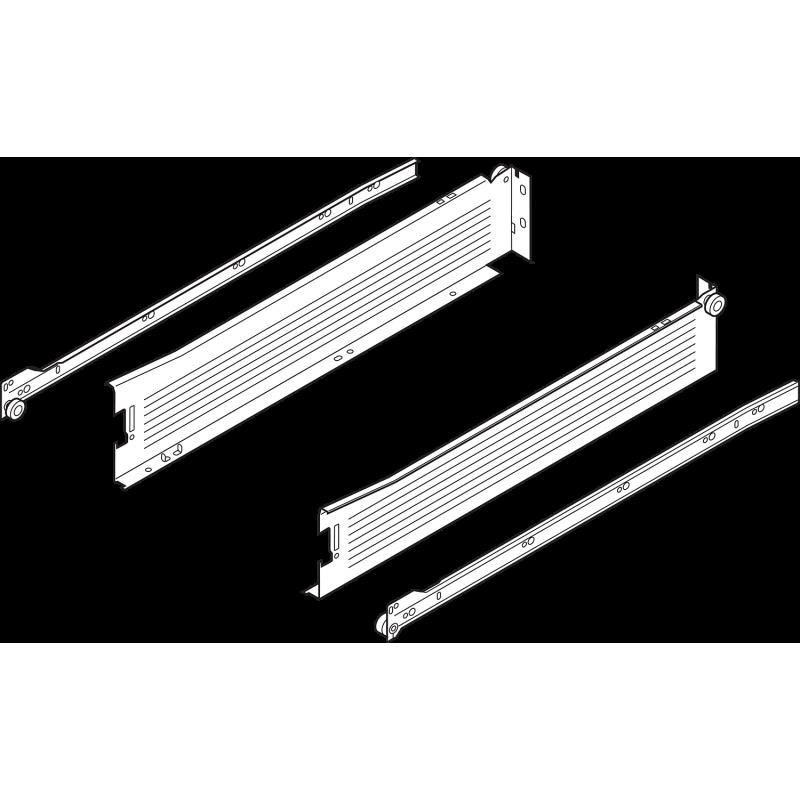 Metabox BLUM 320M2700C15 MX, częściowy wysuw, wysokość H- 86 mm, szary
