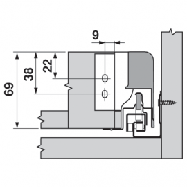 Uchwyt ścianki tylnej tandembox lewy/prawy Z30N000S.04 szary