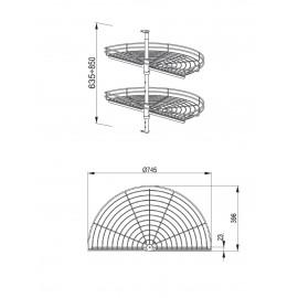 Półka obrotowa NOVA 1/2 750 chrom