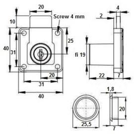 Zamek siso kwadratowy CL-X 850 fi 19x22 mm