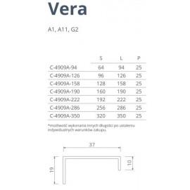 Uchwyt meblowy VERA  C-4909A, 158 mm, P60 biały