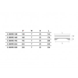 Uchwyt meblowy FROTTO  C-3839, 224 mm,  P59  czarny