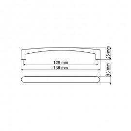 Uchwyt meblowy Gamet UN 40-0128-G0008 aluminium