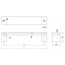 Uchwyt meblowy Gtv UA B337-0128 inox