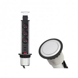 Gniazdo CINEMABOX fi-60 3 gniazda+USB aluminium
